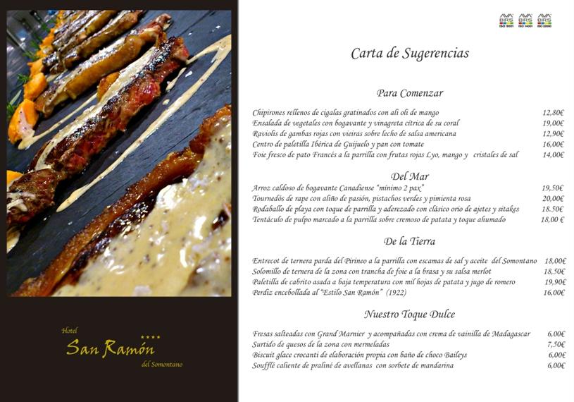 Carta Restaurante San Ramón Barbastro