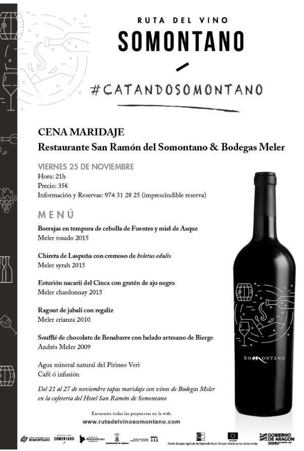 Menú #catandosomontano 2016 Restaurante San Ramón & Bodegas Meler