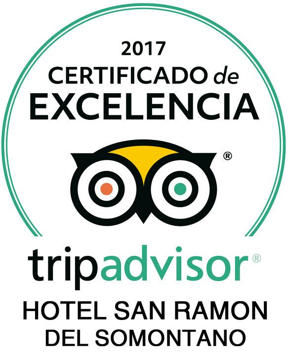 Certificado de Excelencia Tripadvisor 2017 Hotel San Ramón