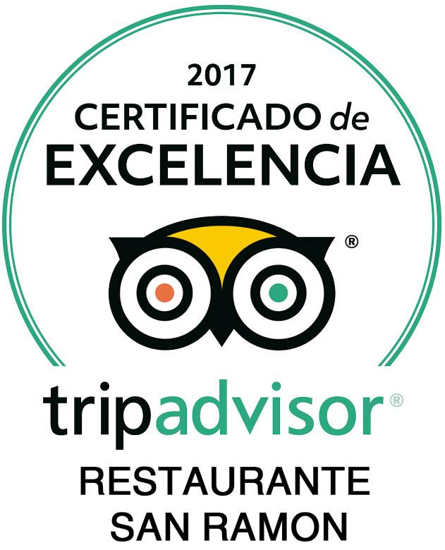 Certificado Excelencia Restaurante San Ramón 2017