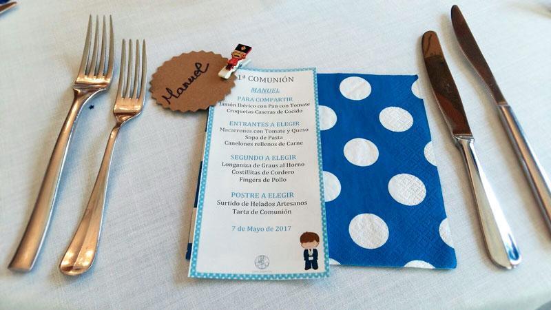 Mesa Infantil Primera Comunión restaurante San Ramón