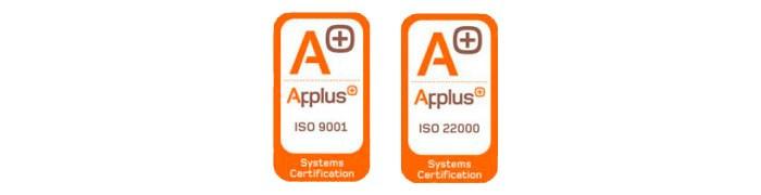 Sellos certificaciones ISO 9001 - 22000