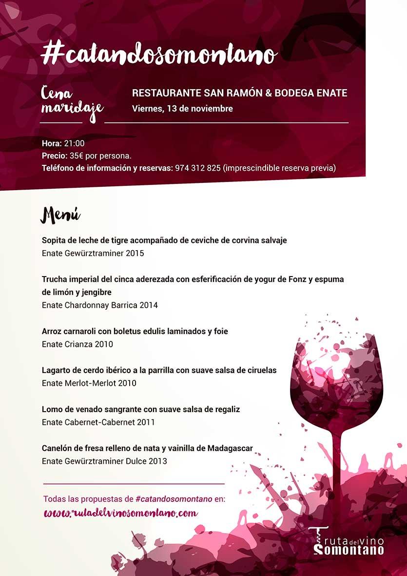 Cena Maridaje Restaurante San Ramón & Bodegas Enate. Viernes 13 de Noviembre de 2015