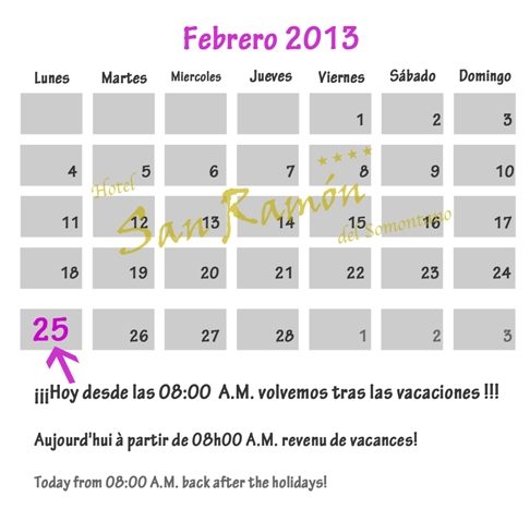 El 25 de Febrero Hotel San Ramón abre tras las vacaciones.