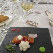 Cena Maridaje Restaurante San Ramón & Bodegas Enate: Trucha imperial del CInca aderezada con esferificación de yogur de Fonz y espuma de limón y jengibre
