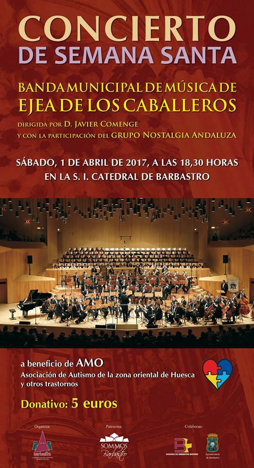 Concierto de Semana Santa en Barbastro:  Sábado 1 de abril de 2017