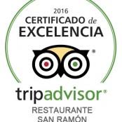 """Restaurante San Ramón """"Certificado de Excelencia Tripadvisor 2016"""""""