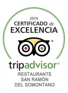 Restaurante San Ramón de Barbastro: Certificado de excelencia Tripadvisor 2016