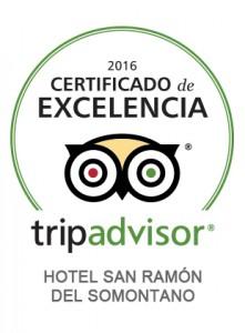 Certificado de Excelencia 2016 Tripadvisor Hotel San Ramón
