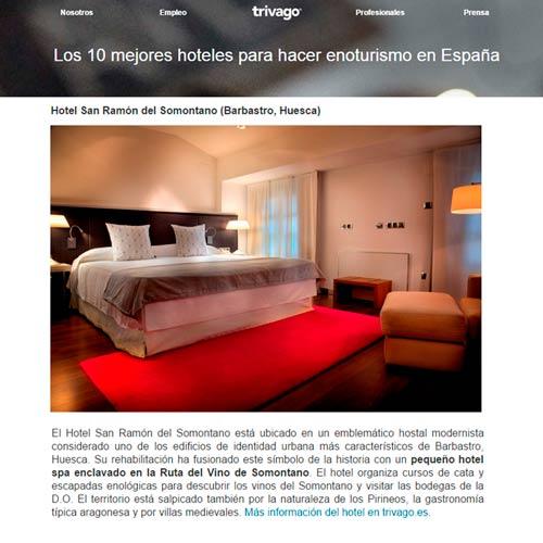 El hotel San Ramón del Somontano entre 10 mejores hoteles enologicos
