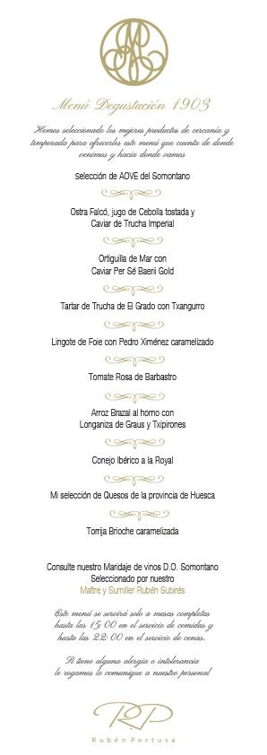 Menú degustación Restaurante San Ramón