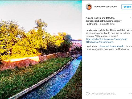 Rio Vero a su paso por Barbastro en Instagram